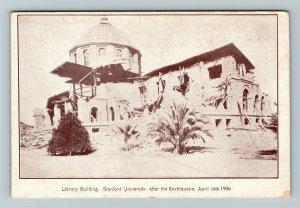 1906 San Francisco CA Earthquake Stanford Library Vintage Disaster Postcard