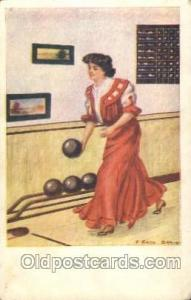 Artist Earl Christy Bowling Woman in Sports Postcard Postcards