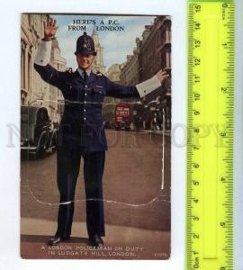 256011 UK LONDON Policeman w/ folded 12 views Vintage postcard