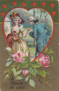VALENTINE'S DAY, A Token of Love, 1900-10s; Couple framed in Heart, Roses