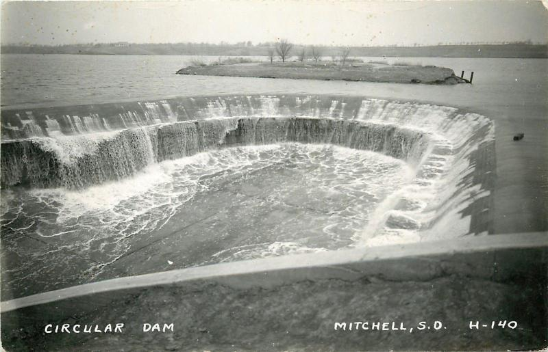 Mitchell South Dakota Circular Dam Island Birdseye 1946 Real Photo Postcard