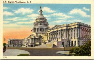 United States Capitol Washington, D.C. sunrise or sunset, linen postcard