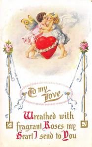 Valentine Calligraphy~Cupids Embrace Over Heart~Butterfly & Bird Wings~Emboss