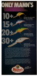 1988 Mann's Bait Company 10+ 15+ 20+ 30+ Fishing Lures Print Ad Old Fishing Lure