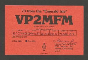 QSL AMATEUR RADIO CARD – WOODLANDS, MONTSERRAT – 1981