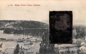 Coeur D Alene Waterfront Man In Chair Real Photo Antique Postcard K105320