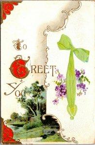 Greetings To Greet You Postcard Old Vintage Card View Standard Souvenir Postal