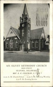 Seaford DE Mt. Olivet Methodist Church High St. c1940s Postcard