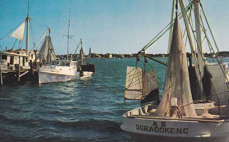 Shrimp Boats at Anchor,  Ocracoke Island,  North Carolina,  40-60s