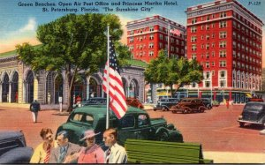 Florida St Petersburg Green Benches Open Air Post Office and Princess Martha ...