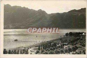 Modern Postcard Aix les Bains City Beach and Dent du Chat