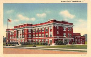 Owensboro Kentucky High School Street View Antique Postcard K58876