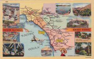Map Of Southern California's Romantic Highways Curteich