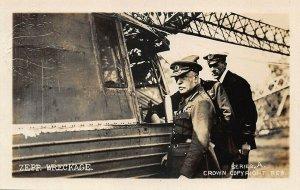 Farnborough Gate U. K. Zeppelin Wreckage Series A #1 Real Photo Postcard