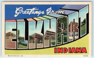 Large Letter Linen ELKHART, INDIANA  IN ~ Curteich ca 1940s  Postcard