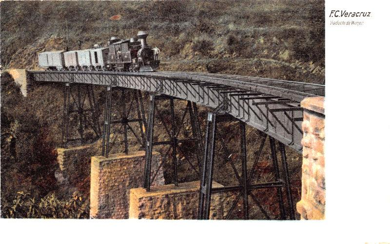 F.C VERACRUZ MEXICO VIADUCTO WIMER~RAILROAD TRAIN~LATAPI #922 PUBLISHED POSTCARD
