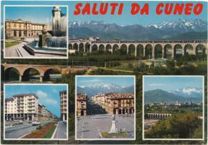 Italy, Saluti da Cuneo, used Postcard