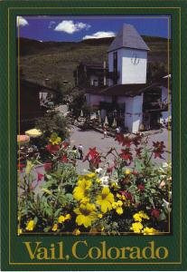 Colorado Vail The Pedestrian Village With Outdoor Restaurants And Flowers