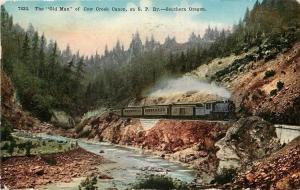 Southern Oregon~Old Man of Cow Creek Canon~SP Ry Train~1911