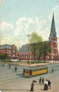 Trolley at Holy Family Church, Rochester, New York - pm 1907 - DB