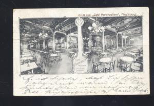 GRUSS AUS CAFÉ HOHENZOLLERN MAGDEBURG GERMANY ANTIQUE VINTAGE POSTCARD