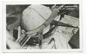 1949 Crown and Inscription, Statue of Liberty, New York RPPC Postcard
