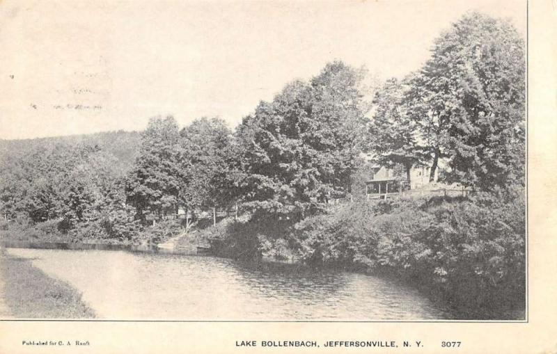 Jeffersonville New York Lake Bollenback Waterfront Antique Postcard K32514