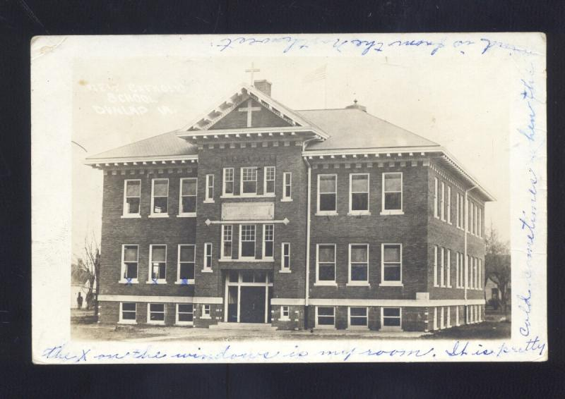 RPPC CARROLL IOWA SCHOOL BUILDING VINTAGE REAL PHOTO POSTCARD