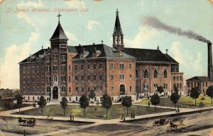 Logansport Indiana~Four-Story St Joseph Hospital~Nice Belltower 1909 Postcard