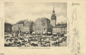 czech, BRNO BRÜNN, Vegetable Market, Town Hall (1899) Stamp