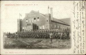 Valley City ND Soldiers & Armory c1905 Postcard