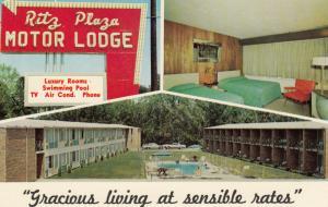 TERRE HAUTE, Indiana, 1940-60s; Ritz Plaza Motor Lodge, Sign, Room & Pool