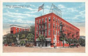 F7/ St Petersburg Florida c1915 Postcard Detroit Hotel Automobiles