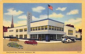 Baltimore Maryland MD 1940s Postcard Greyhound Bus Terminal Cars