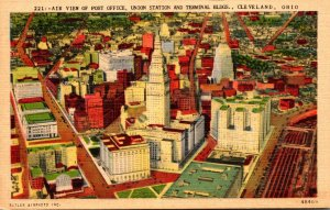 Ohio Cleveland Aerial View Of Post Office Union Station and Terminal Buildings