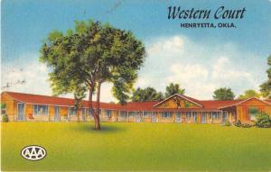 Henryetta Oklahoma view of Western Court motor lodge linen antique pc Y15657