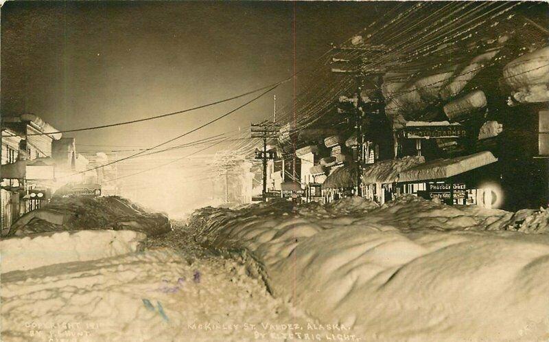 Valdez Alaska Winter Night McKinley Hunt C-1910 RPPC Photo Postcard 21-5030