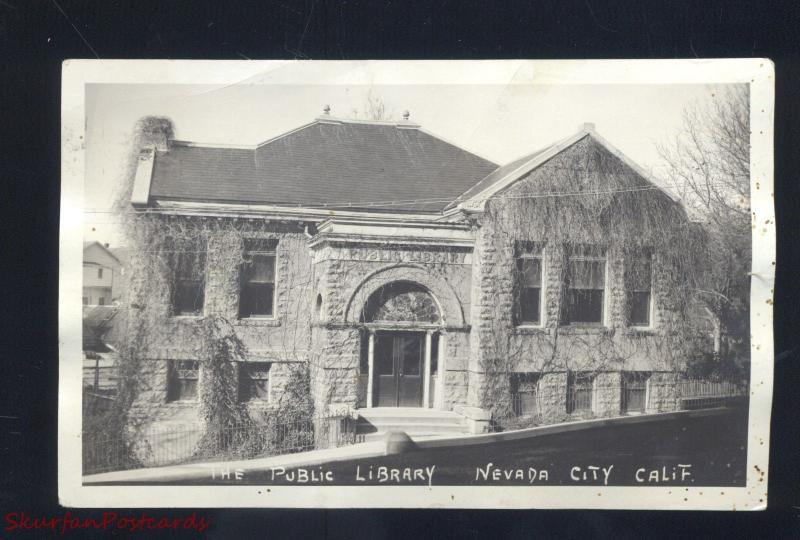 RPPC NEVADA CITY CALIFORNIA PUBLIC LIBRARY VINTAGE REAL PHOTO POSTCARD CALIF.