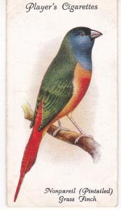 Cigarette Cards Playe Aviary and Cage Birds No 47 Nonpareil Grass Finch