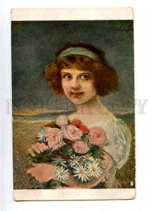 182546 SPRING Girl Flowers by Stephen JACOB Vintage SALON PC