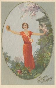 ART DECO ; Buona Pasqua (Easter)  Female holding gold egg & branch, 1910-20s