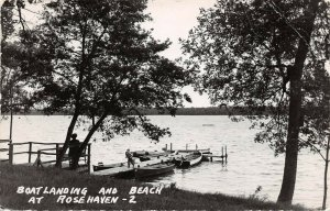 LPS96 Rosehaven Minnesota Boat Landing and Beach Postcard RPPC