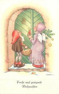 Postcard Artist G. LAMBERT gnomes dwarfs fantasy angel apple Christmas star joy
