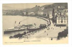MONTREUX, Switzerland, Pre 1905, Steamship at docks