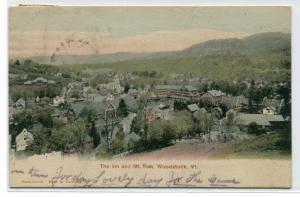 The Inn & Mt Thom Panorama Woodstock Vermont 1906 postcard