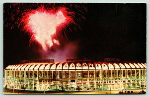 St Louis Missouri~Busch Stadium~Fireworks Display~Inside Lights~1966 Postcard