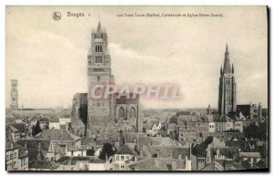 Old Postcard Bruges Three towers Belfry Cathedral and Church of Our Lady