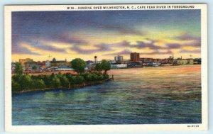 WILMINGTON, North Carolina NC ~ Sunrise CAPE FEAR RIVER ca 1940s Linen Postcard