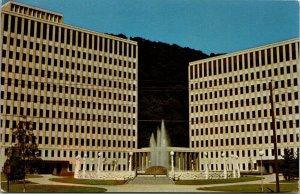 Capitol Complex and Pavilion fountain 1972 postcard Parkman stamp