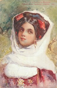 Artist Signed Paysanne de Gastouri Corfu Greek Lady 05.97